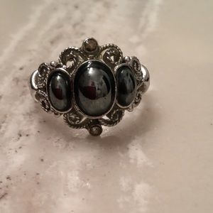 Women's silver and black stone ring